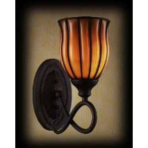 Phoenix Amber Glass 1 Light Wrought Iron Sconce $0 Shipping over $100