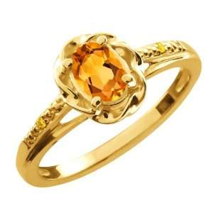 41 Ct Oval Yellow Citrine Canary Diamond 10K Yellow Gold Ring Jewelry