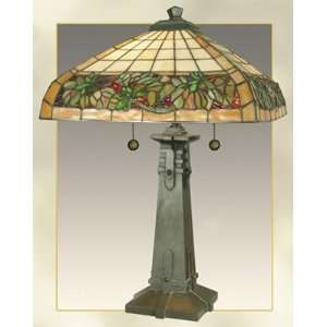 Lifestyles Series Holly Berry Tiffany Table Lamp
