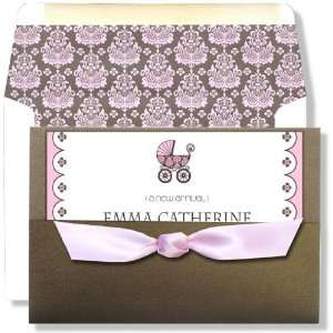 Girl Baby Shower Invitations   Posh Baby Girl Pocket Ribbon Invitation