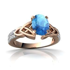 14k Rose Gold Oval Genuine Blue Topaz Engagement Ring Size