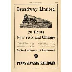 1912 Ad Pennsylvania Railroad Broadway Limited Train   Original Print