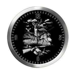 Modern Wall Clock Deer Hunting Buck Doe Rifle and Hat: Everything Else