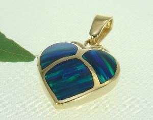 14K Yellow Gold Heart Shaped Charm Pendant Opal Inlay