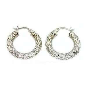 White gold Hoop Earrings Ear Piercing Jewelry 21mm Jewelry