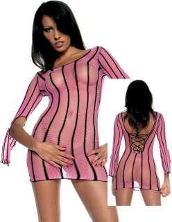 Long sleeve lace up back fishnet mini dress stripes