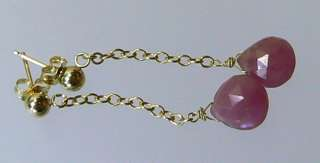 GENUINE NATURAL FACETED PINK SAPPHIRE 14K GOLD EARRINGS