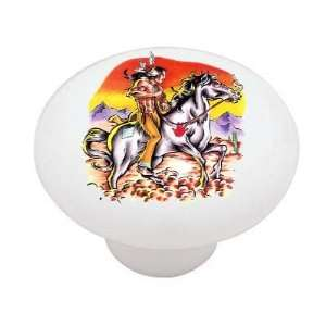 Native American Indian Riding Horse Decorative High Gloss