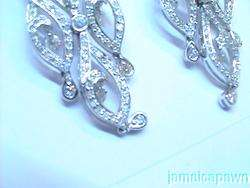18k White GOLD 3 Carat DIAMOND CHANDELIER EARRINGS Filigree Vintage