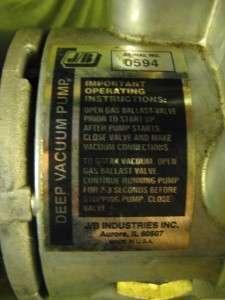 JB Fast Vac DV 142 1/2hp 5cfm Deep Vacuum Pump