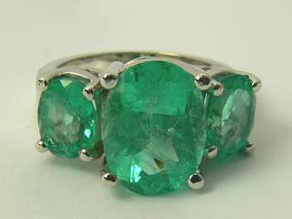 Ravishing Colombian Emerald Three Stone Ring 14k White Gold