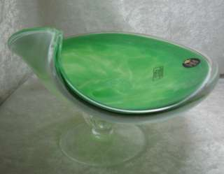 Murano Green White Crystal Art Glass Candy Dish Bowl