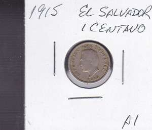 1915 El Salvador 1 Centavos World Coins