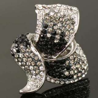 gold GP swarovski crystal marcasite cocktail ring q10