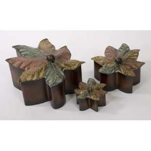 Set of 3 Country Rustic Autumn Maple Leaf Lidded Boxes