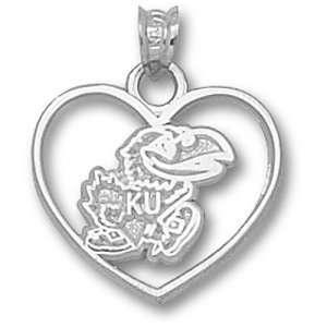 University of Kansas Jayhawk Heart Pendant (Silver