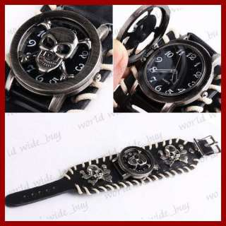 Star Loves Punk Rock Pirate Skull Leather Band Unisex Bracelet Wrist