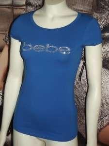 xs*s*m*l*xl** BEBE triple stud LOGO tee shirt top blue NWT