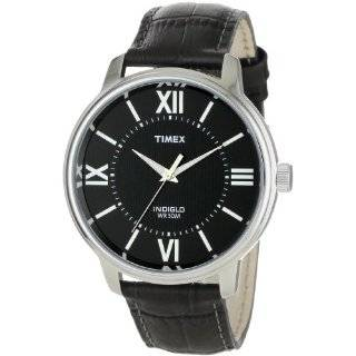 Timex Mens T2E561 Classic Black Leather Strap Watch