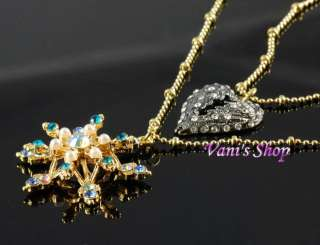 BETSEY JOHNSON Jewelry Crystal heart blue snowflake nacklace,in gift