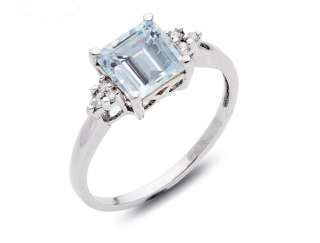 93 Emerald Cut Aquamarine & Diamond Custom Ring 10k White Gold
