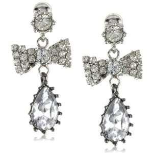 Betsey Johnson Iconic Crystal Bow Tear Drop Earrings