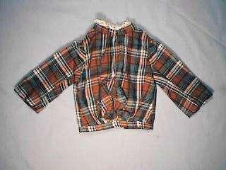 Glen Plaid Doll Jacket High Collar Brass Buttons