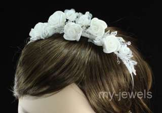 Wedding Bridal White Rose Satin Headband Tiara T1366
