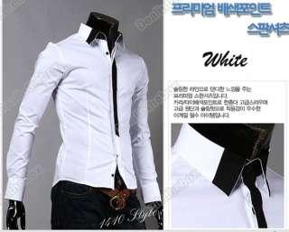 Casual False Tie Slim Fitting Stylish Long Sleeve Shirts Luxury Tops