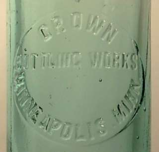 CROWN BOTTLING WORKS MINNEAPOLIS MINN MN BOTTLE CA 1910
