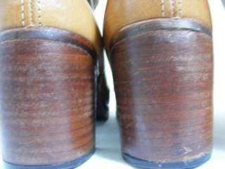 BORT CARLETON Knee High Leather Boots 7M Side Zipper WOOD Stacked Heel