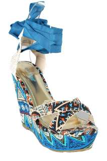 New Bamboo Blue Booster 06 Printed Criss Cross Wedge Platform Sandals