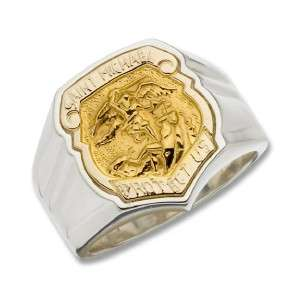 St Michael Protect Us Sterling Silver 14kt Gold RING