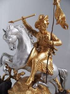 Very impressive 19th c French S.Marti gilt figural horse huntsman