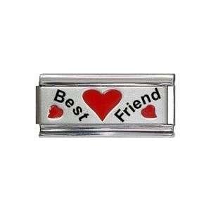 Best Friend Red Heart Laser Italian Charm Jewelry