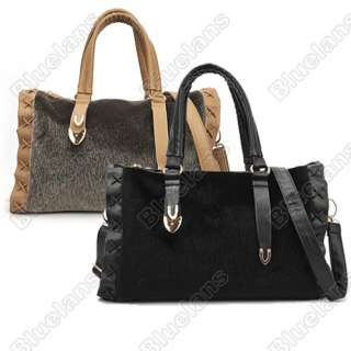 Hot Faux Mink Fur Boston Bag Tote Satchel Bag Handbag Shoulder Bag