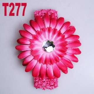 14 color of Flower Baby Hair Bow Clip Crochet Headband available