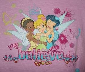 New Baby Toddler Girls Tinkerbell Fairies T Shirt Tank Top Set Purple
