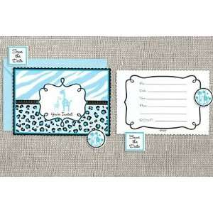 Sweet Safari Baby Blue Baby Shower Party Invitation   20