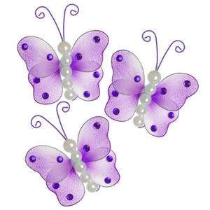 mini purple butterfly decor pearl wedding bridal lot decoration