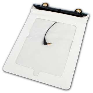 White Waterproof Case Bag Strap+ Earphones for iPad 1 2