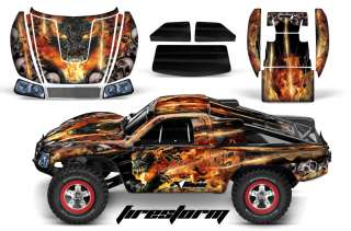 RC GRAPHIC DECAL KIT UPGRADE   TRAXXAS SLASH 4X4 BODY  FIRESTORM BLK