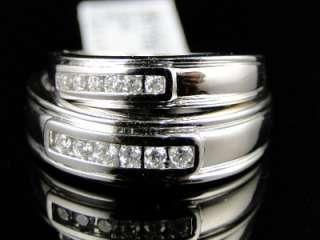10K WHITE GOLD DIAMOND ENGAGEMENT BRIDAL WEDDING RING DUO SET