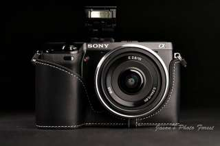 Handmade Vintage Leather Full Camera Case for Sony NEX7 Black and