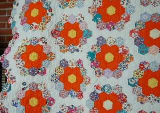 VIBRANT 30s Grandmothers Flower Garden Antique Quilt