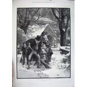 1883 Winter Snow Family Church Man Brush Fine Art Hunt