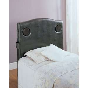 Twin Speaker Headboard, Dark Brown Bi Cast Vinyl By