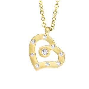 Yellow gold with White diamonds open heart pendant necklace Jewelry