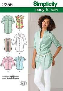 Simplicity Pattern 2255 Womens Easy Top Blouse Shirt