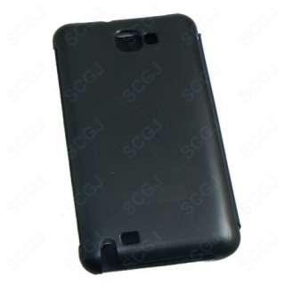 Black Glossy Leather Flip Case Cover for Samsung Galaxy Note i9220 GT
